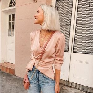 Lulu's Pale Pink Satin Knotted Front Top